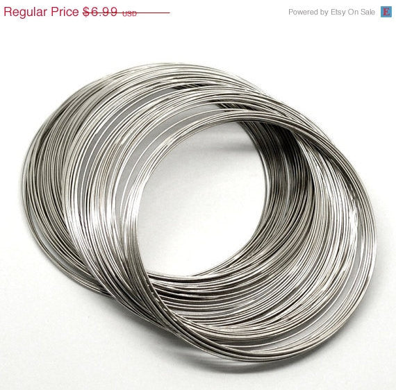 "200 Silver Tone Metal Steel Memory Wire Loops 60mm,  . small bracelet, about 2-1/2"" diameter  20 gauge wir0022"