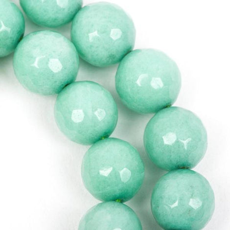 6mm Round Faceted MINT GREEN Jade Gemstone Beads, full strand gjd0083