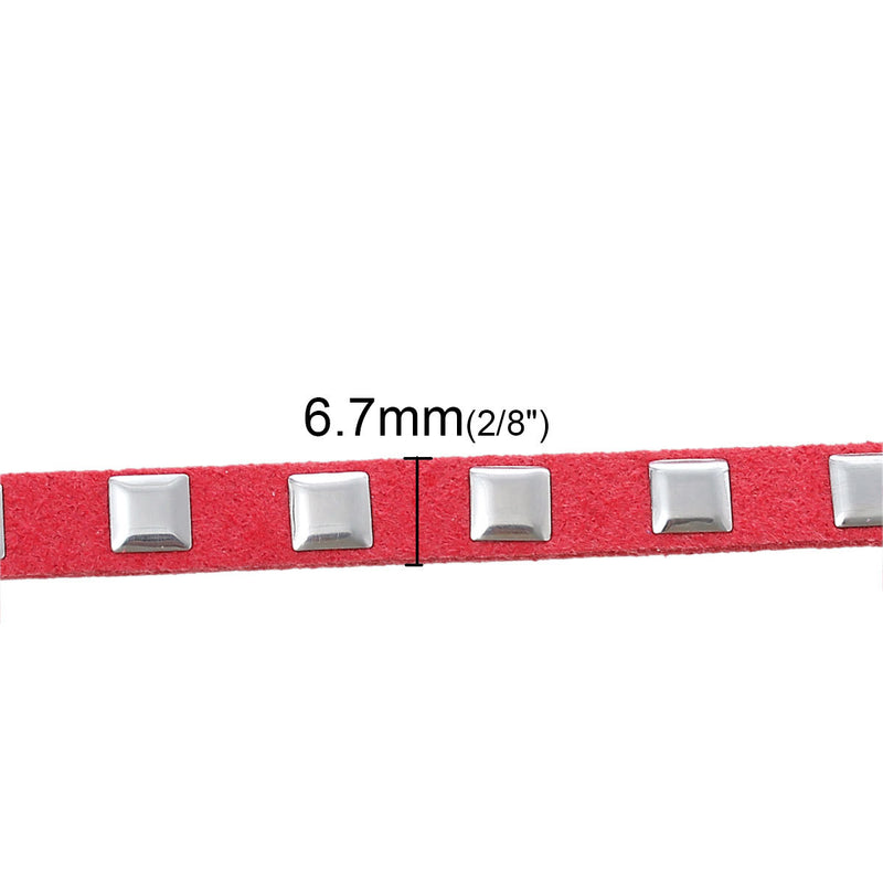 "1/4"" width Silver Studded CORAL Suede Jewelry Cord wrap bracelet cord, suede ribbon trim, 1 meter,  cor0067"
