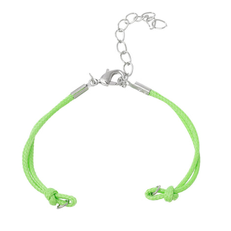 "10 Bracelet Blanks Connectors LIME GREEN Nylon Cords with Lobster Clasp, 5-5/8"" long plus 1-1/2"" extender chain cor0052"