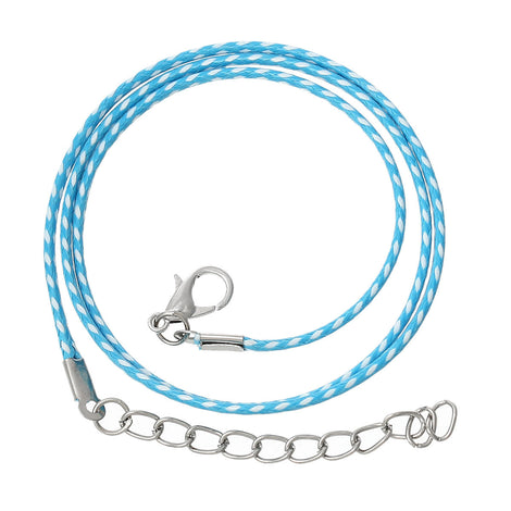 "30 BLUE and WHITE Wax Rope Cord Necklaces with Lobster Clasps, 17"" to 19"" with extender chain cor0054"