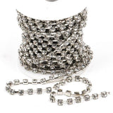 1 yard ( 3 feet ) Rhinestone Cup Chain, 4.3mm rhinestones, bright silver base metal and clear glass crystals size ss18, fch0245a