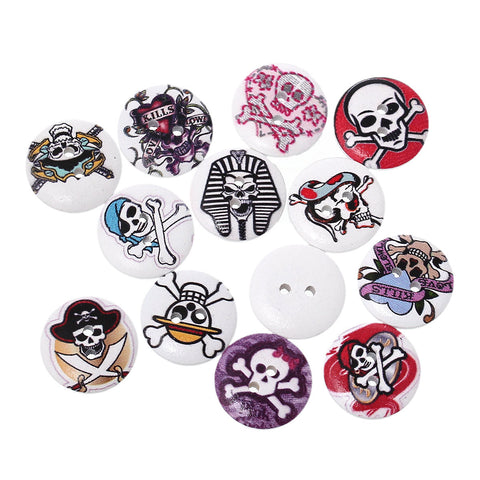 "25 Round SKULL WOOD BUTTONS  20mm, 3/4"" for Scrapbooking . Beading . Sewing mixed designs,  but0235"