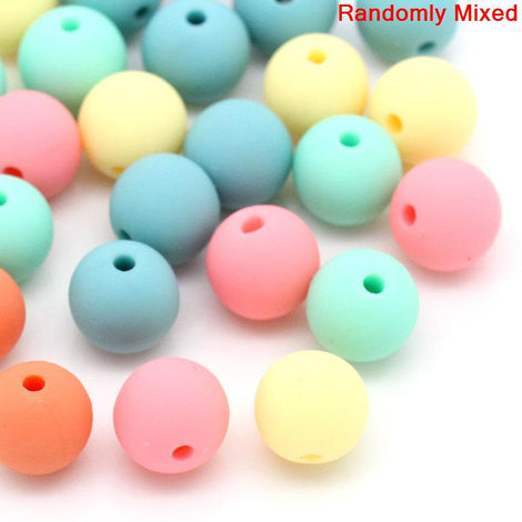 10mm Pastel Acrylic Round BUBBLEGUM Beads, MULTICOLORED, 25 beads,  bac0293a