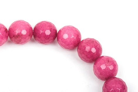 12mm Round Faceted RASPBERRY PINK JADE Gemstone Beads, full strand gjd0087