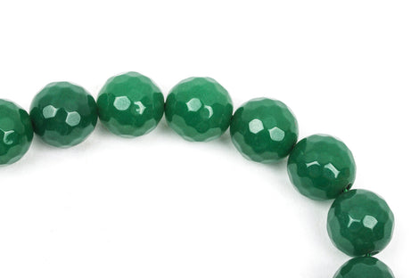 10mm Round Faceted EMERALD GREEN JADE Gemstone Beads, full strand gjd0118