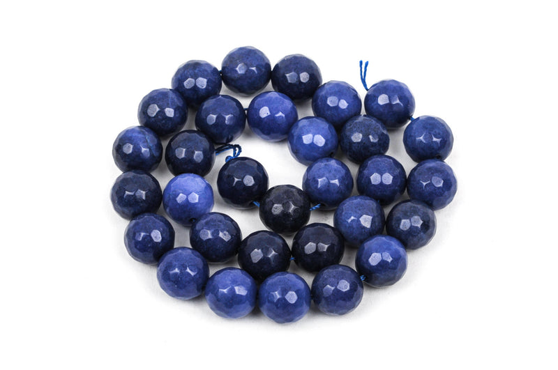 10mm Round Faceted NAVY BLUE JADE Gemstone Beads, full strand gjd0109