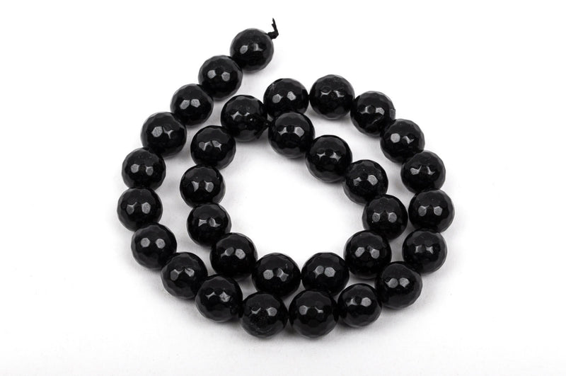 12mm Round Faceted BLACK JADE Gemstone Beads, full strand gjd0093
