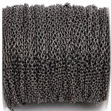 1 yard (3 feet) Gunmetal Black Cable Chain, Oval Links are 2.5x2mm unsoldered, bulk, fch0249a