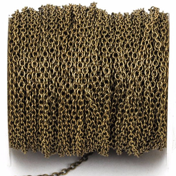 1 yard Antique Bronze Cable Chain, Oval Links are 2.5x2mm unsoldered, fch0250a