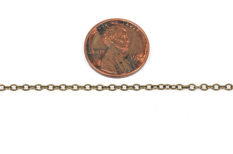 1 yard (3 feet) Antique Bronze Cable Chain, Oval Links are 2.5x2mm unsoldered, bulk on spool, fch0250a