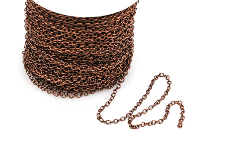 1 yard (3 feet) Copper Cable Chain, Oval Links are 2.5x2mm unsoldered, bulk on spool, fch0251a
