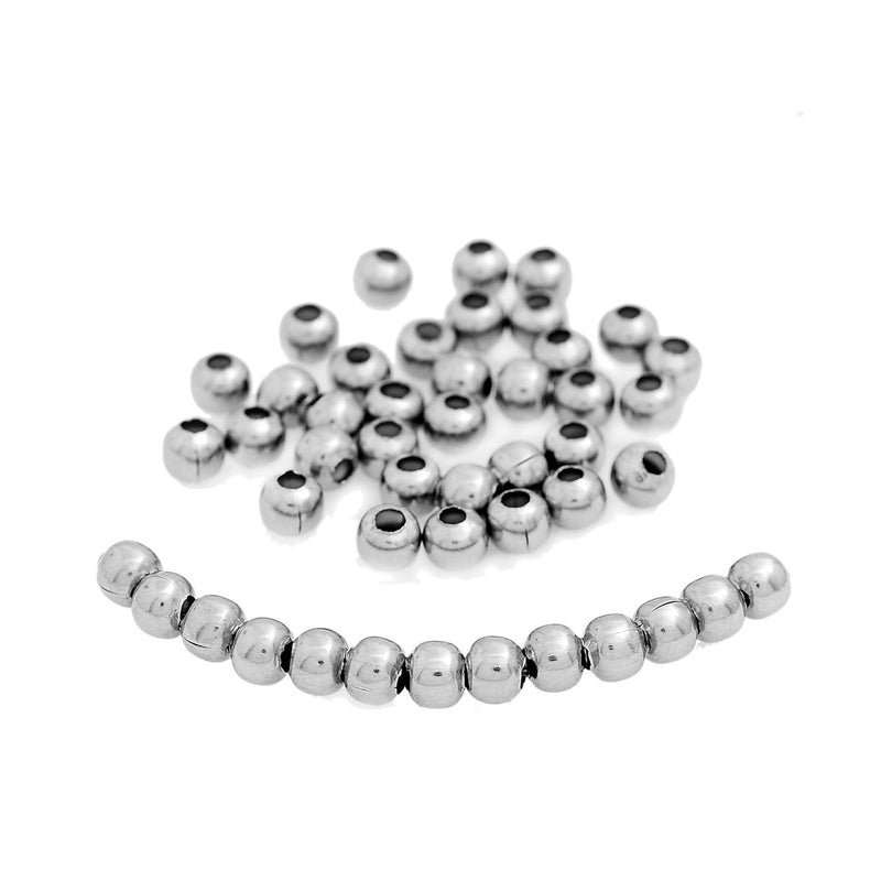 6mm Stainless Steel Metal Round Spacer Beads, 100 beads, bme0348