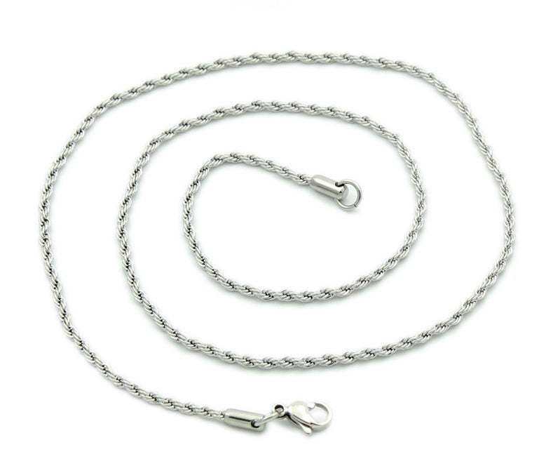 "5 Stainless Steel Rope Chain Necklaces with Lobster Clasp, non tarnish, 20-1/2"" long 2mm thick, fch0253"