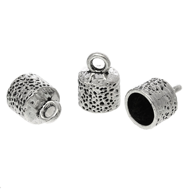 10 Silver End Caps for Kumihimo Jewelry, Leather Cord End Connectors, Bails, Bead Caps, Fits 10mm cord, fin0420