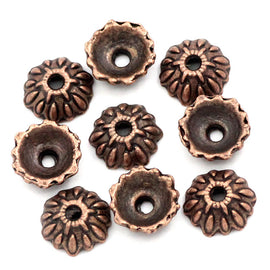 25 Antiqued COPPER  Bead Caps Findings, fits 10mm beads fin0423