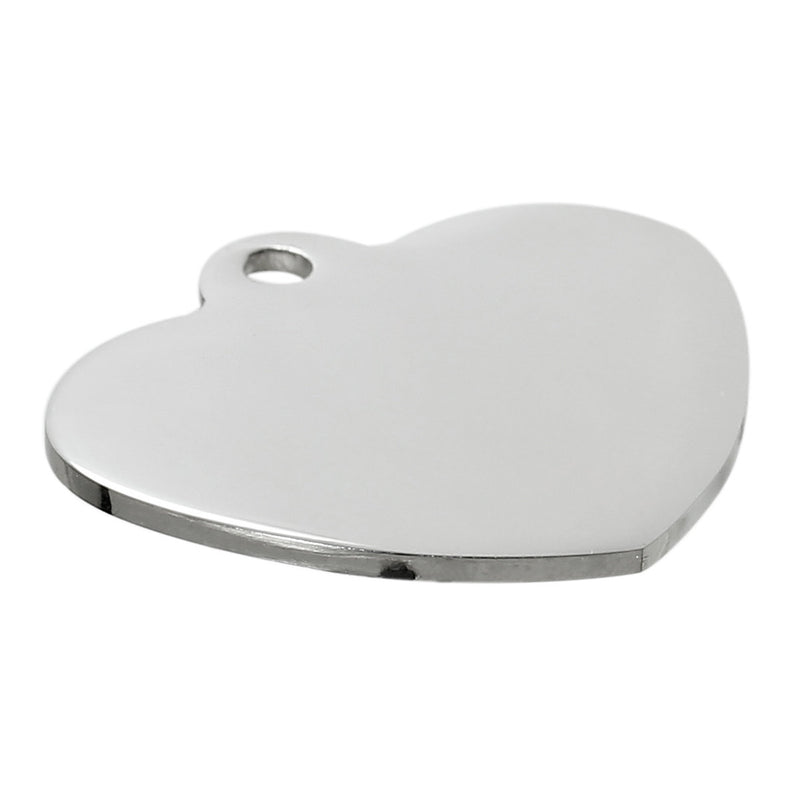 "2 LARGE Stainless Steel Metal Stamping Blanks Charms ( 34mm x 31mm, 1-3/8""x 1-1/4"") HEART Tags, 14 gauge  msb0263"