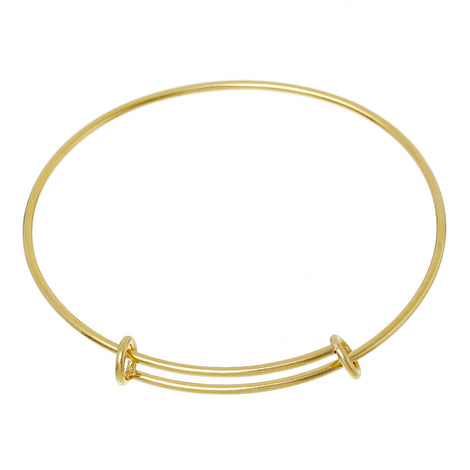 1 Gold Plated Stainless Steel Bangle Charm Bracelet, adjustable fits small to medium wrist 14 gauge, fin0428a