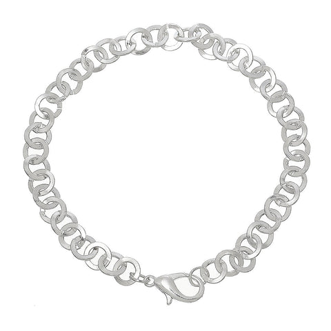 "12 Silver Plated Rollo Chain Bracelets with Lobster Clasp, 7-7/8"" long 20cm  fch0257"