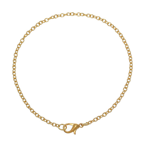 "12 Gold Plated Link Chain Bracelets with Lobster Clasp, dainty cable link chain, 3x2mm links, 8-1/4"" long 21cm, fch0254"