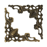 100 Bronze Tone Flat Vintage Style Filigree Embellishment Findings, frame corner, box corner findings, bulk package, fil0056b