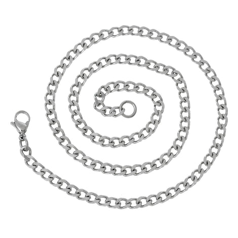 "1 STAINLESS STEEL Curb Link Chain Necklace with Lobster Clasp, 18"" fch0264"
