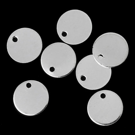"50 Bright Silver Plated Circle Disc Metal Stamping Blanks, 24 gauge, 1/4"" diameter (7mm)  msb0264"