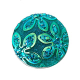 10 Round Resin PEACOCK BLUE Teal AB Druzy Cabochons, 18mm  cab0309