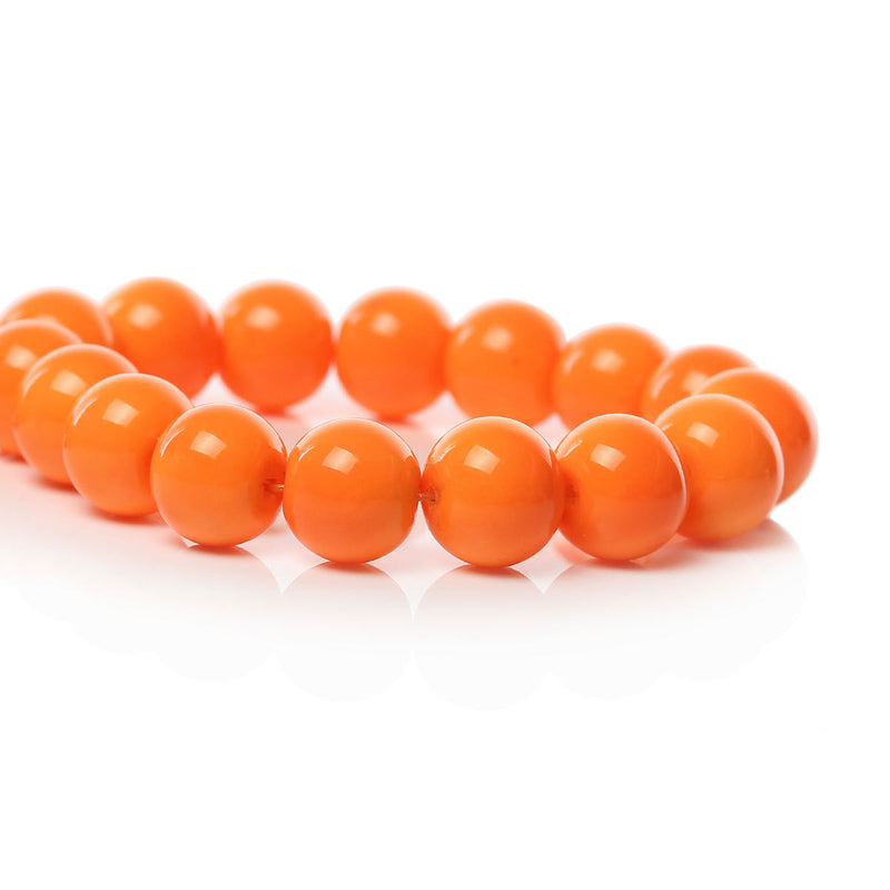 10mm Round Glass Beads, pumpkin orange, smooth, full strand, 44 beads,  bgl1211