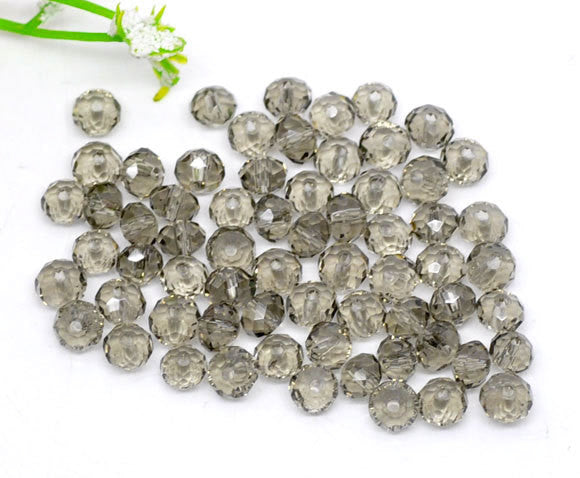 4mm FRENCH GRAY Grey Faceted Glass Crystal Rondelle Beads 50 pieces bgl1216