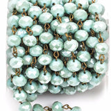 13 feet spool MINT GREEN Crystal Rondelle Rosary Chain, antique gold, 10mm faceted rondelle glass beads, fch0271b