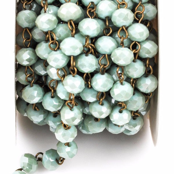 1 yard MINT GREEN Crystal Rondelle Rosary Chain, antique gold, 6mm faceted rondelle glass beads, fch0403a