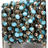 1 yard BLUE and RAINBOW AB Crystal Rondelle Rosary Chain, antique bronze, 6mm faceted rondelle glass beads, fch0269a