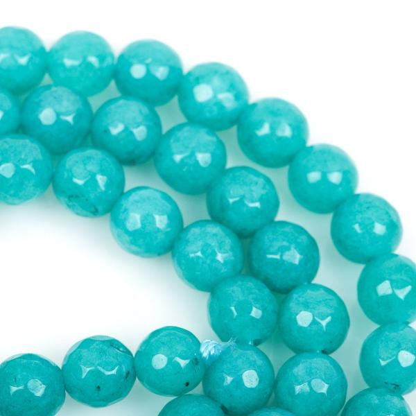 6mm Round Faceted TURQUOISE BLUE Jade Gemstone Beads, full strand gjd0096