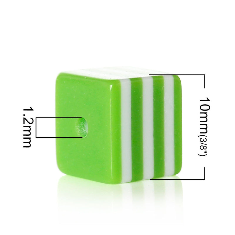 25 LIME GREEN 10mm x 9mm Acrylic Cube Beads, Stripes, bulk package, bac0303a