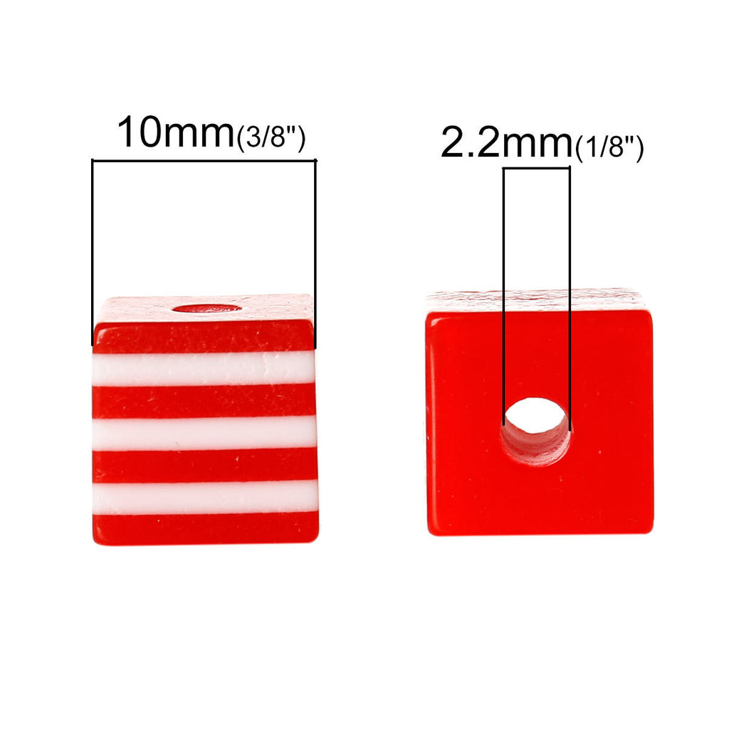 25 LIGHT RED 10mm x 9mm Acrylic Cube Beads, Stripes, bulk package, bac0305a