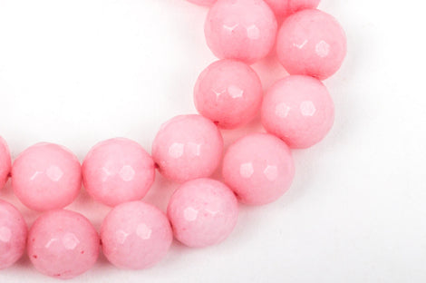 12mm Round Faceted PINK JADE Gemstone Beads, full strand, 32 beads, gjd0089
