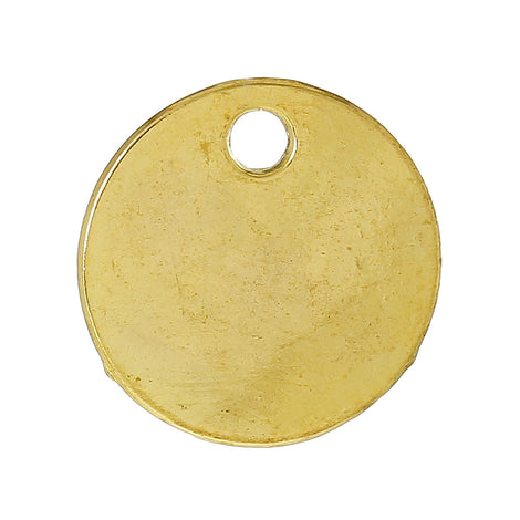 "10 Bright Gold Plated Circle Disc Metal Stamping Blanks, 14 gauge, 5/8"" diameter (16mm)  msb0275a"