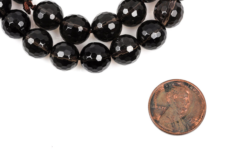 10mm SMOKY QUARTZ Round Beads, faceted, gray, full strand, about 39 beads, gqz0064