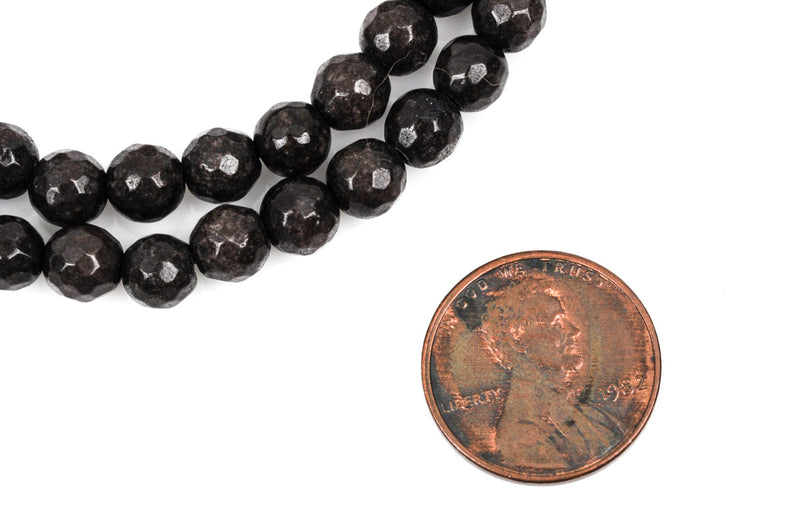 6mm Round Faceted CHOCOLATE BROWN Jade Gemstone Beads, full strand gjd0097
