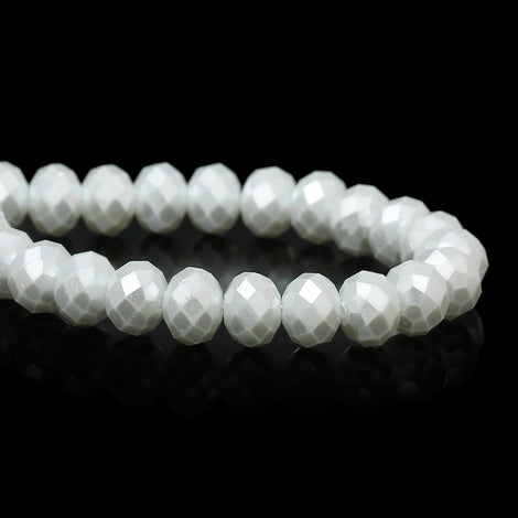 8mm x 6mm Pearl WHITE Opaque Crystal Glass Faceted Rondelle Beads . double strand, about 144 beads, bgl1228