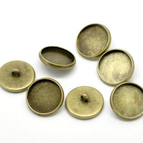 10 Bronze Plated Round Circle CABOCHON Setting Bezel Frame Shank Button Covers (fits 16mm cabs)  but0226