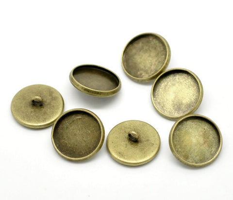 10 Bronze Plated Round Circle CABOCHON Setting Bezel Frame Shank Button Covers (fits 12mm cabs)  but0224