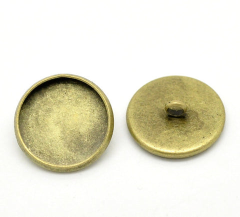 10 Bronze Plated Round Circle CABOCHON Setting Bezel Frame Shank Button Covers (fits 20mm cabs)  but0225