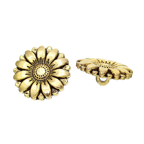 6 Gold Tone Metal FLOWER Shank Buttons for Jewelry Making, Scrapbooking, Sewing, daisy flower button  but0238