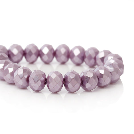 8mm Metallic Pearl LILAC LAVENDER PURPLE Opaque Crystal Glass Faceted Rondelle Beads . double strand, about 144 beads, bgl1236b