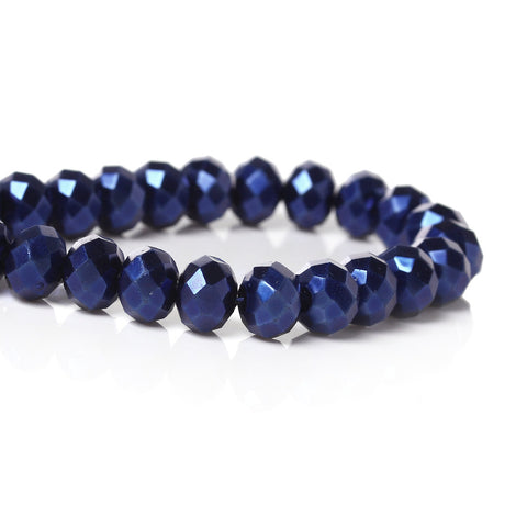 NBEADS 345pcs Rondelle Royal Blue Glass Beads with 60g Tube Blue Glass Beads 6mm 8mm 9mm 10mm for Jewellery Making with Container Box