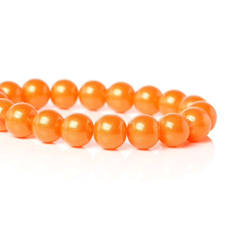 10mm Round Glass Beads, ORANGE glitter with a gold sheen, double strand, about 84 beads  bgl1255