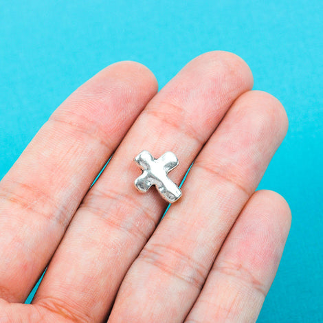10 Antique Silver Tone Metal Sideways Cross Beads, hammered textured metal . 13mm x 11mm chs0149