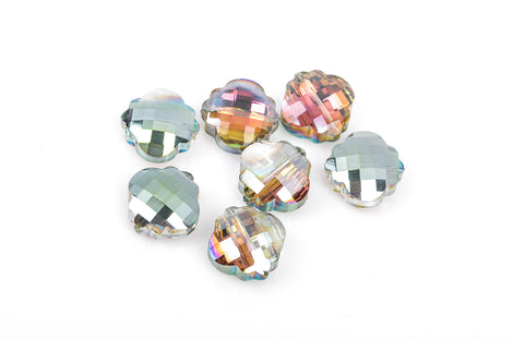 10 QUATREFOIL AB Crystal Glass Beads, checkerboard faceted, northern lights, vitrail,  20mm, bgl1261